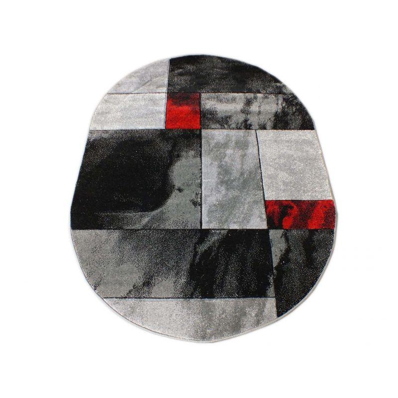 Dywan owalny Fantazja 03S - szaro-czerwony