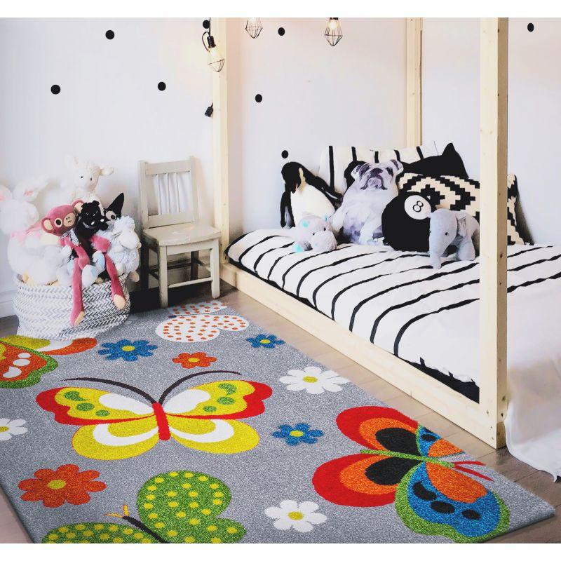 Dywan dla dzieci Mondo 14 Motyle - szary