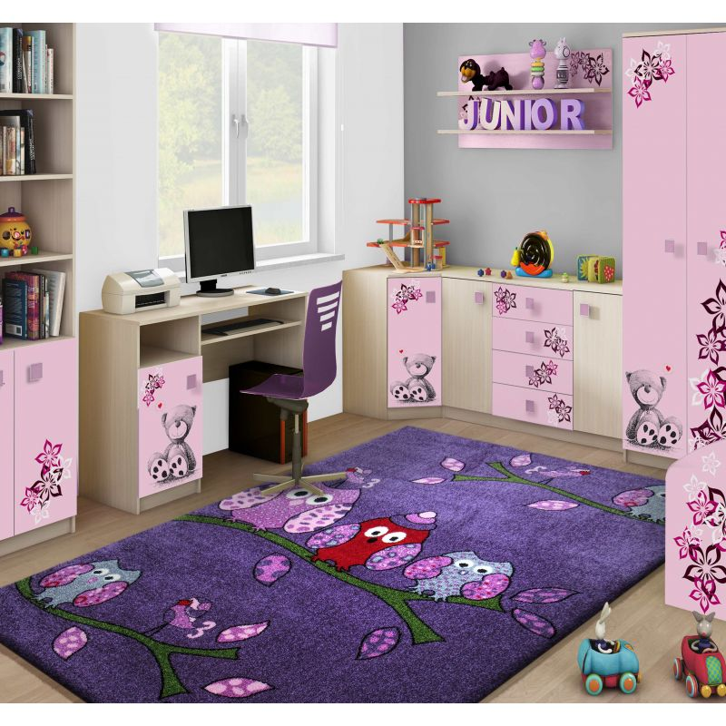 Dywan dla dziewczynki Bella 01 fioletowy - sówki