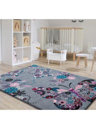 Dywan dla dziecka Bella 03 szary - motylki