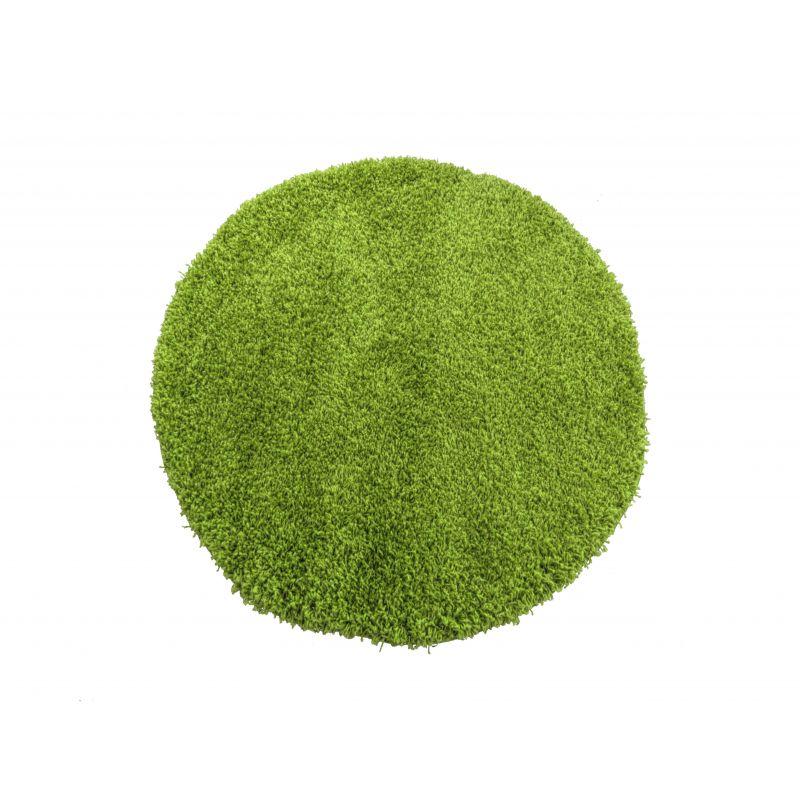 Dywan okrągły shaggy jednokolorowy zielony