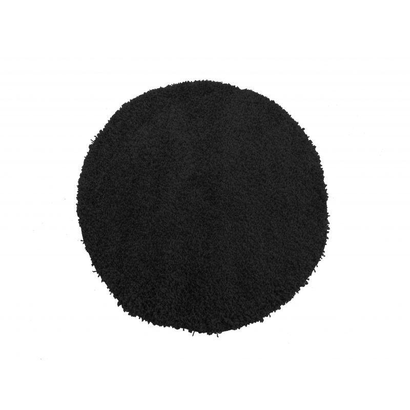 Dywan okrągły shaggy jednokolorowy czarny