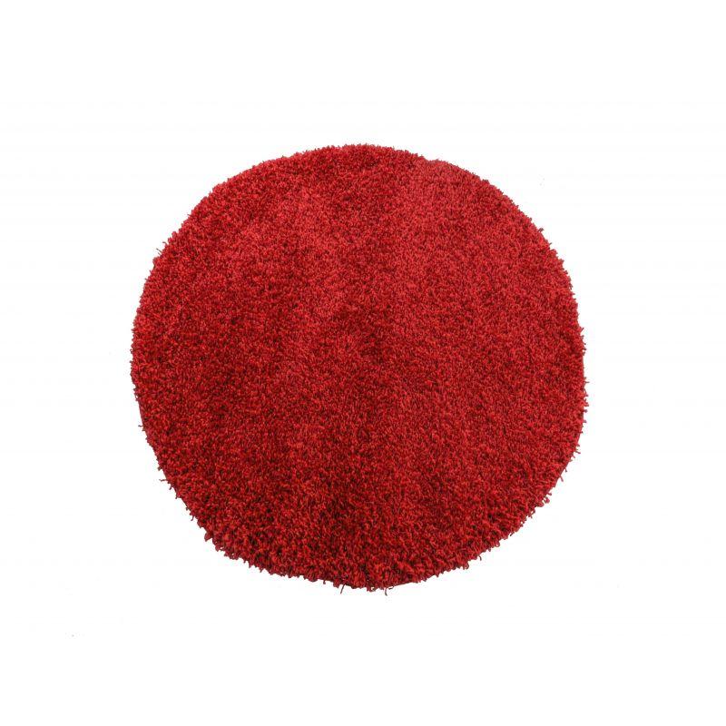 Dywan okrągły shaggy jednolity czerwony