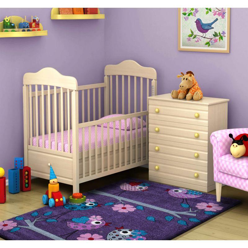 Dywan dla dziecka Bella 02 fioletowy - ptaszki