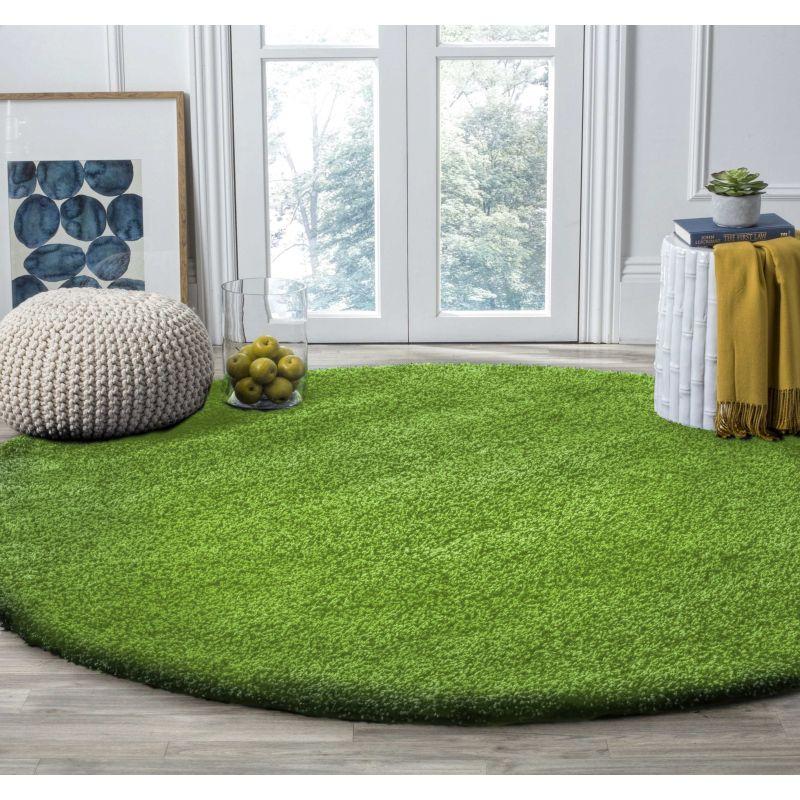 Dywan nowoczesny okrągły shaggy jednokolorowy zielony
