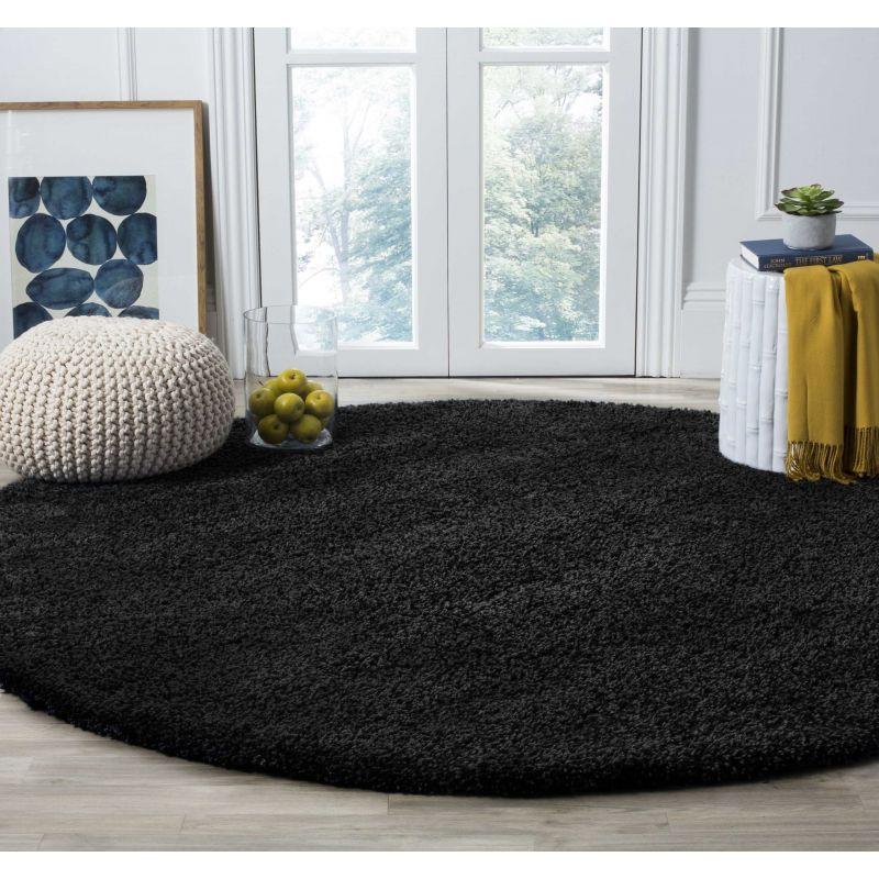 Dywan nowoczesny okrągły shaggy jednokolorowy czarny