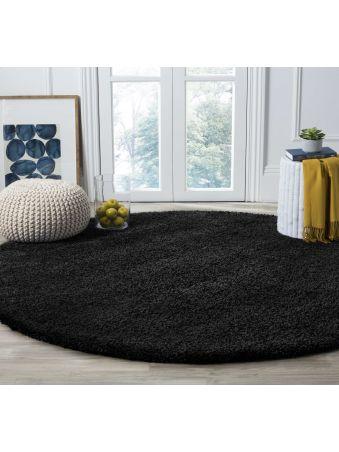 Dywan okrągły shaggy jednolity czarny