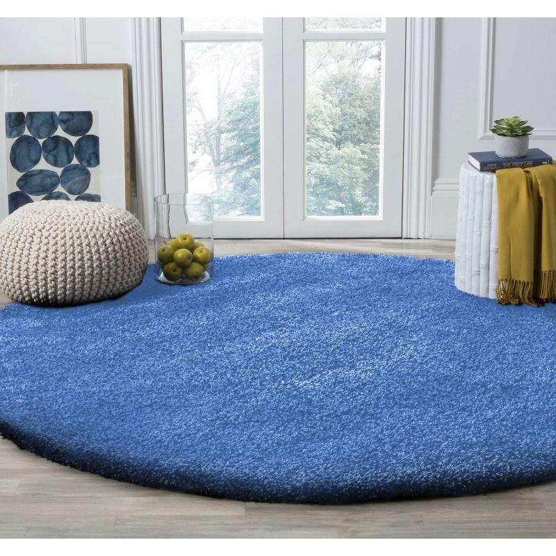 Dywan nowoczesny okrągły shaggy jednolity niebiesk