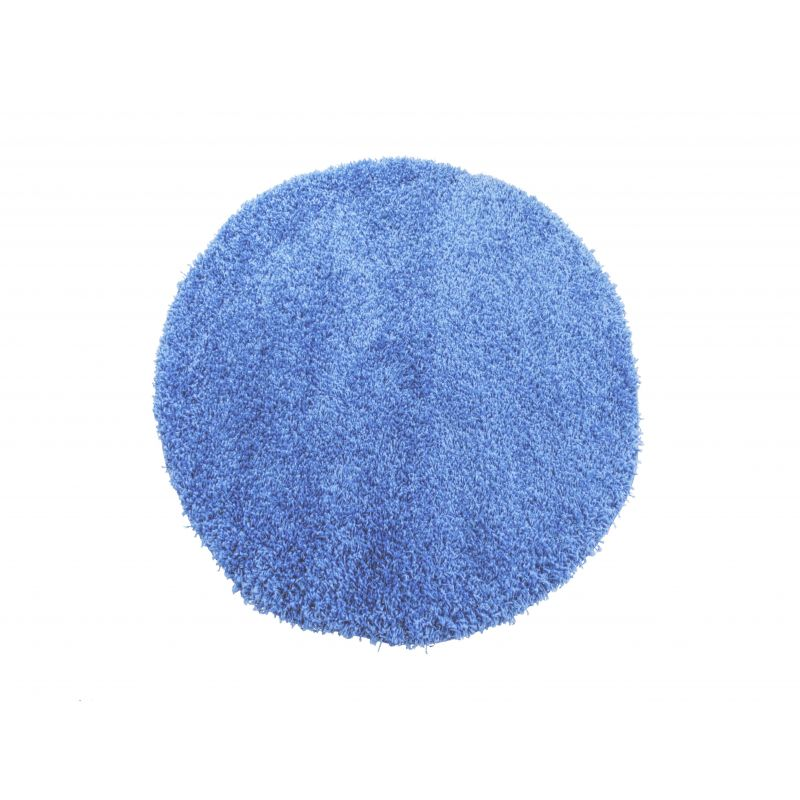 Dywan okrągły shaggy jednolity niebieski