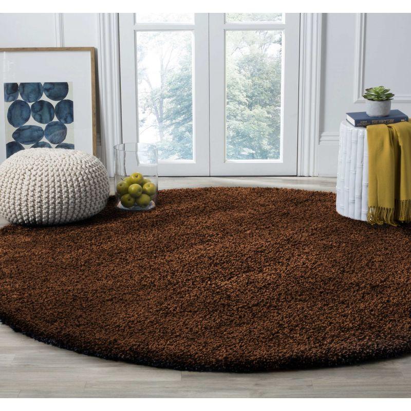 Dywan nowoczesny okrągły shaggy jednolity brązowy