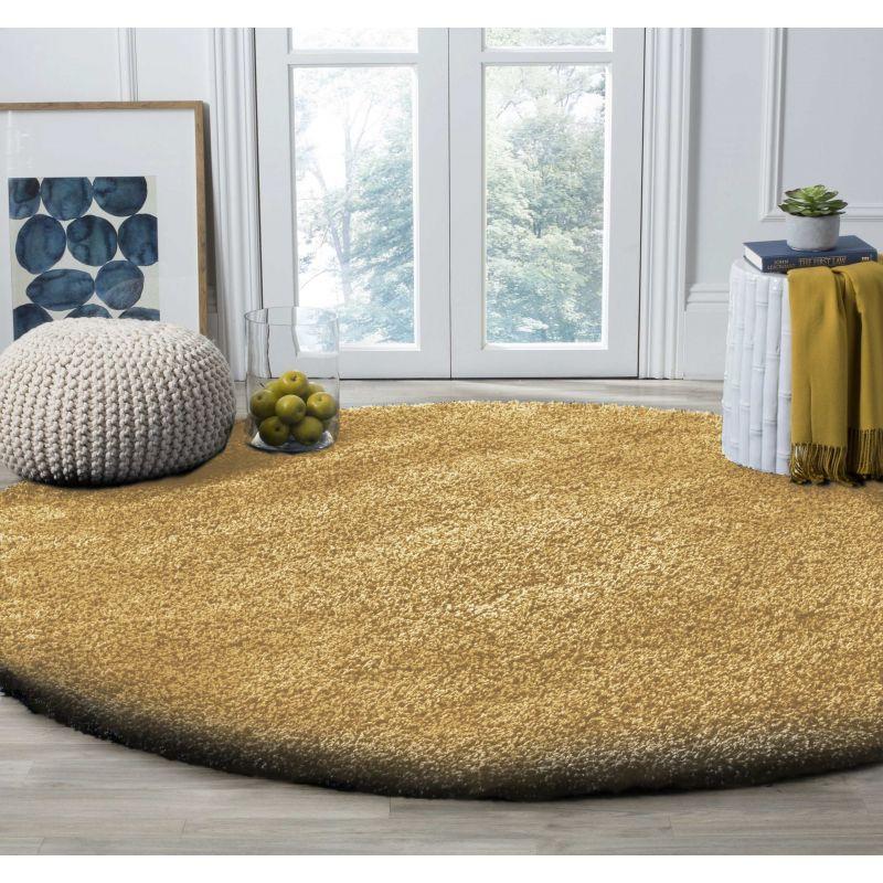 Dywan nowoczesny okrągły shaggy jednolity karmelowy