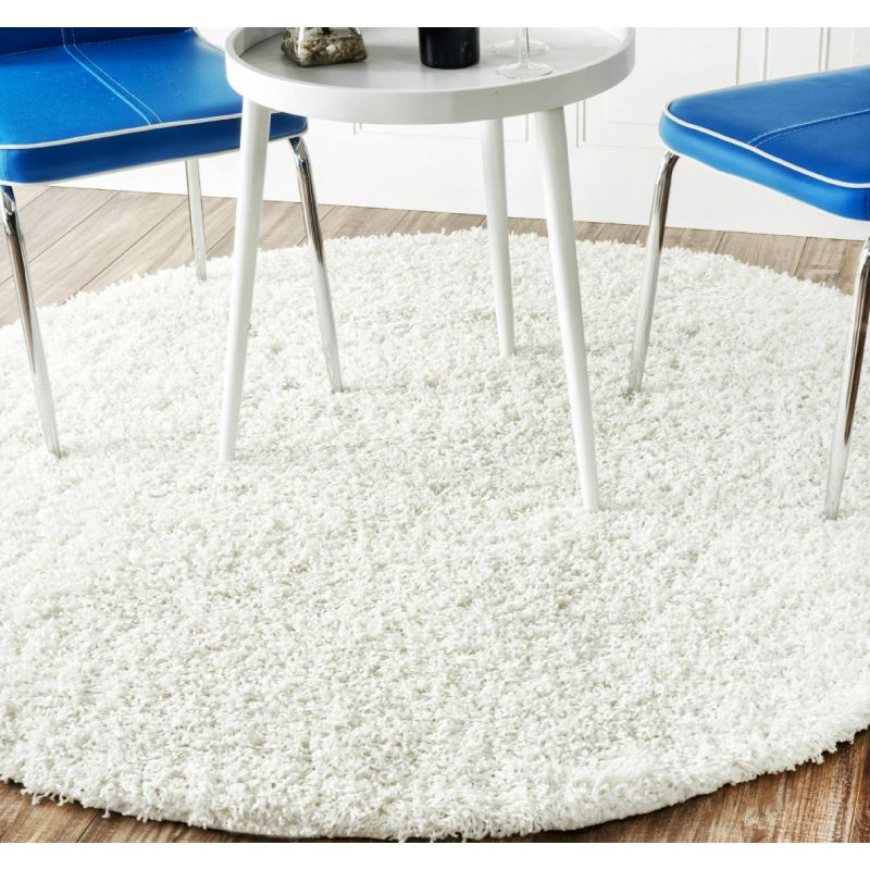 Dywan nowoczesny okrągły shaggy jednolity biały