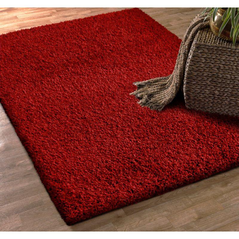 Dywan nowoczesny shaggy jednokolorowy czerwony