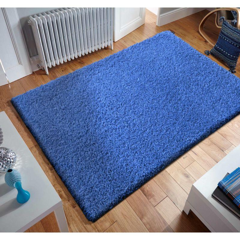 Dywan nowoczesny shaggy jednokolorowy niebieski