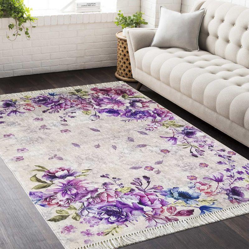 Dywan antypoślizgowy Horeca 03 - kwiaty fioletowe