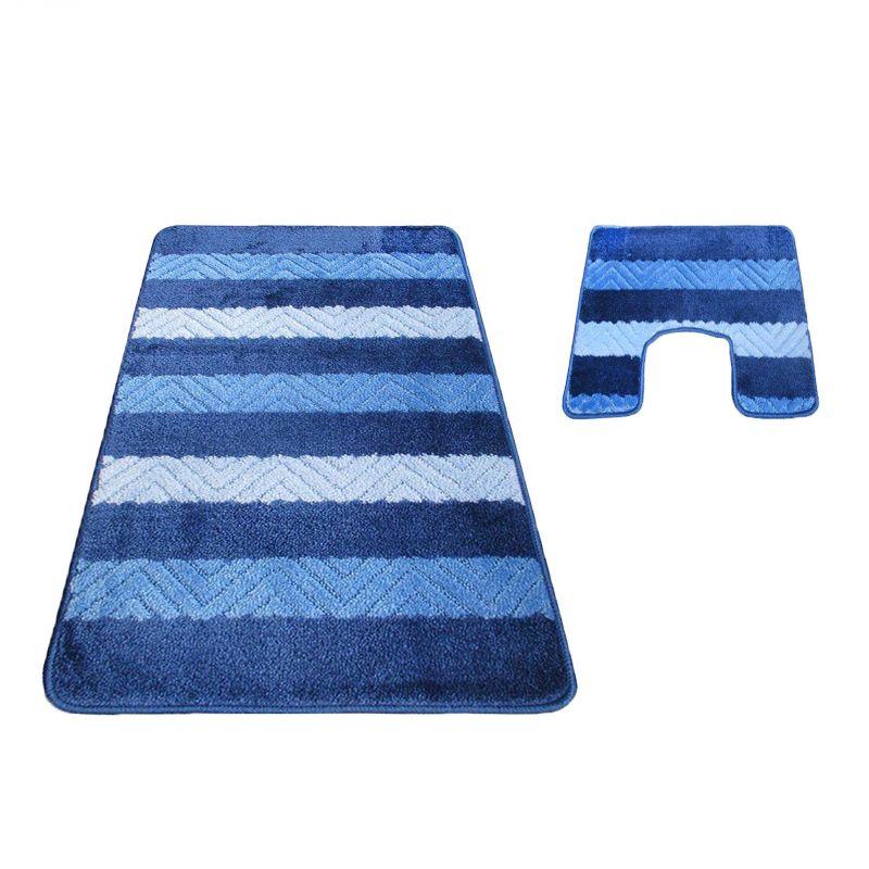 Komplet łazienkowy z wycięciem pod toalete Montana 02 - niebieski