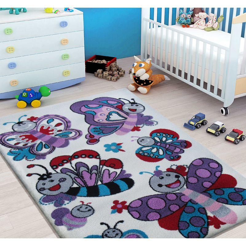 Dywan dla dziecka Bella 03S kremowy - motylki