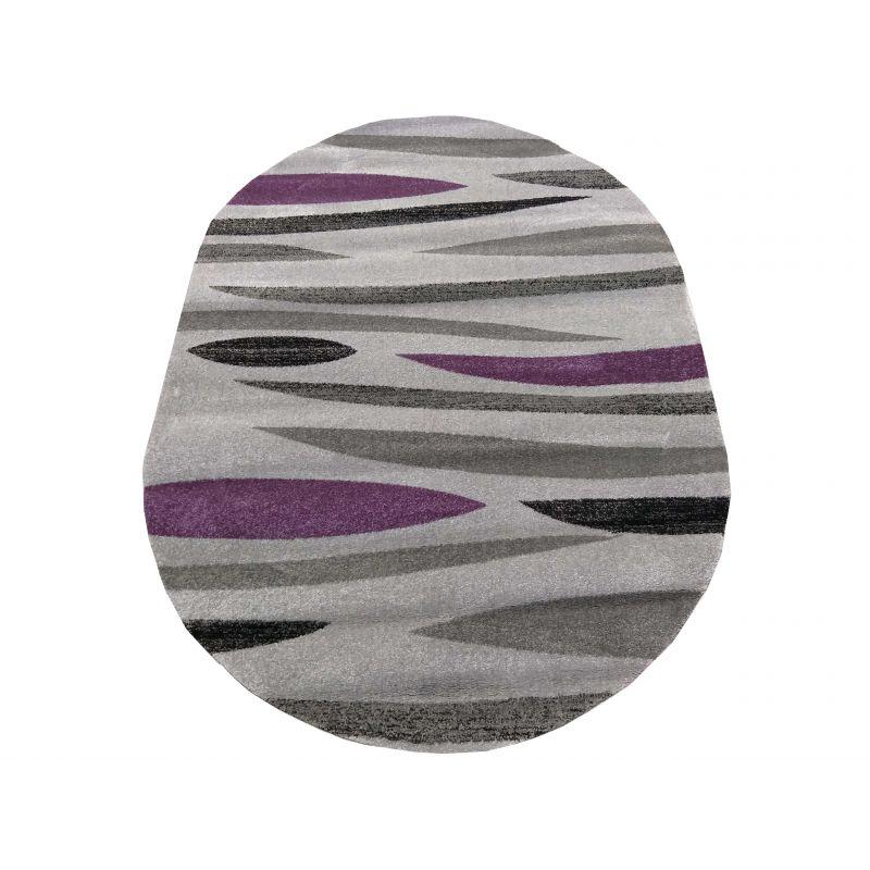 Dywan nowoczesny owalny Fantazja 01S szaro-fioletowy