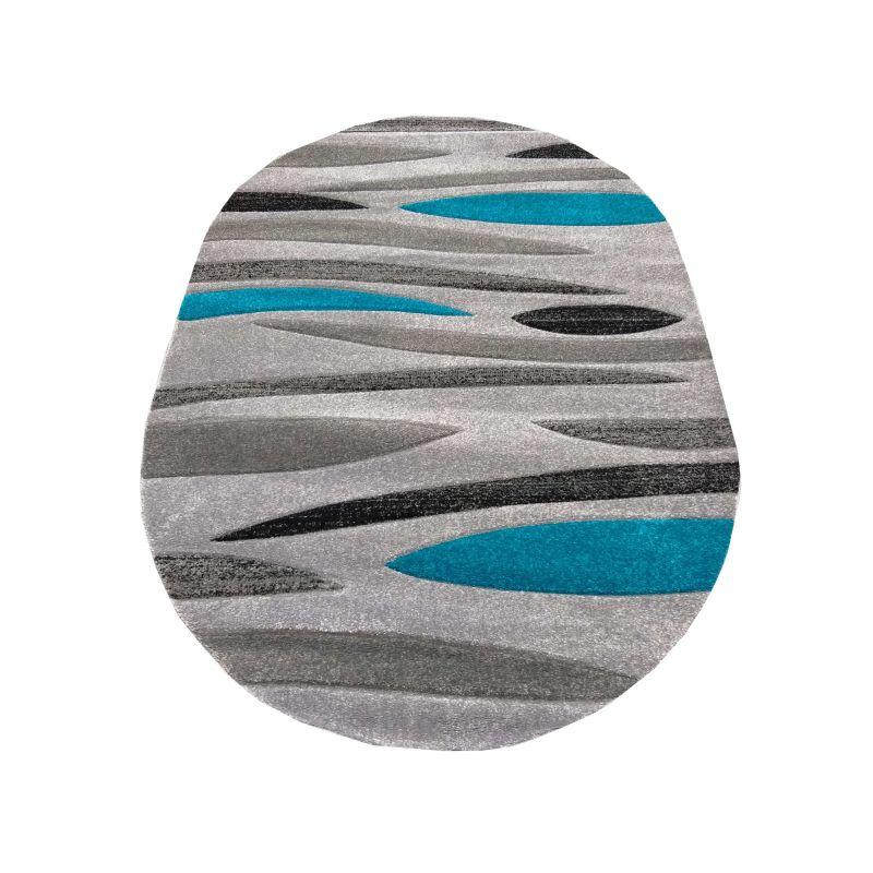 Dywan nowoczesny owalny Fantazja 01S szaro-turkusowy