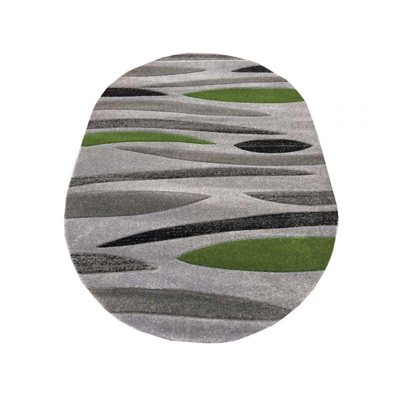 Dywan nowoczesny owalny Fantazja 01S szaro-zielony